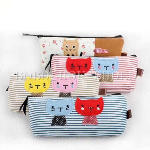 Cat Pattern Pencil Case Makeup Bag Coin Cellphone Storage Cosmetic Pouch Cute