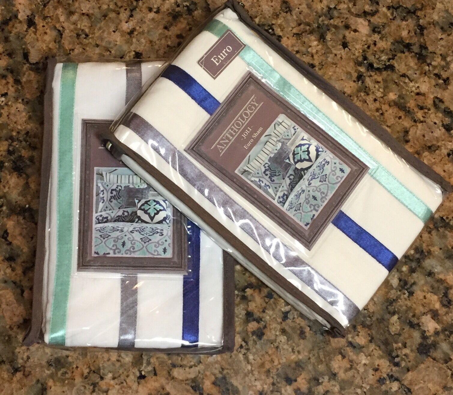(2) Anthology Jolie Euro Shams bianca blu Aqua Embroiderosso Ribbon Stripes