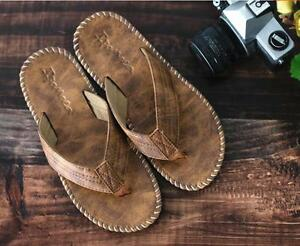 2018-New-men-leisure-flip-flops-PU-leather-beach-mules-sandal-shoes-Slippers-hot
