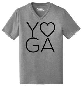 Mens-Yoga-LOVE-Triblend-V-Neck-Workout-Gym-Fitness