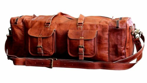 """30/"""" Real Brown Leather Duffle AirCabin Bag Sports Gym Bag weekend Travel Luggage"""