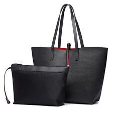Ladies Faux Leather Large Reversible Tote Shoulder Hobo Handbag Bag