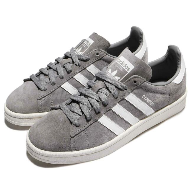 adidas Originals Campus Suede Grey White Ivory Retro Men Shoes Sneakers BZ0085