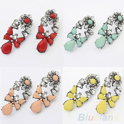 Fashion Party Jewelry Multicolor Resin Drops Crystal Flower Earrings Studs BF4U