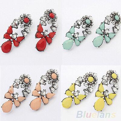 Women Fashion Party Jewelry Multicolor Resin Drops Crystal Flower Earrings Studs