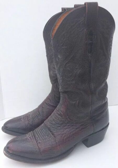 dee2274e965 LUCCHESE COWBOY BOOTS WOMEN'S 8.5 B FULL QUILL OSTRICH LEATHER BR/BL CREPE  SOLE | eBay