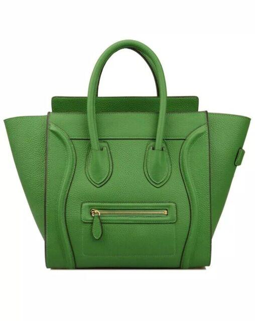 01b3b3b75c3e Ainifeel Women's Genuine Leather Top Handle Handbag Purse Bamboo Green SMALL