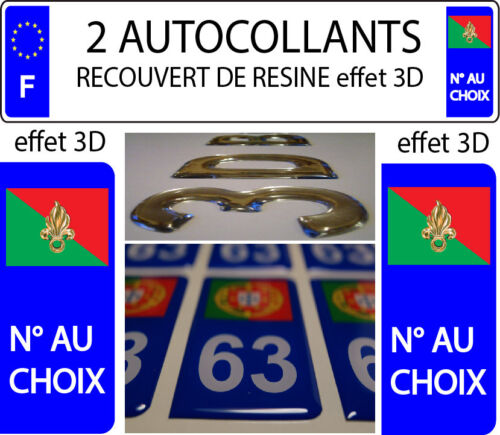 2 Stickers Car Registration Plate Doming 3D Recoveries Resin Legion Foreign 2
