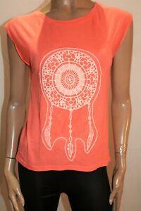 VALLEYGIRL-Brand-Neon-Orange-Dream-Catcher-T-Shirt-Top-Size-S-BNWT-RG62