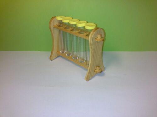 5 tubos de ensayo acrílico tubo de ensayo-soporte soporte de laboratorio 1x reagenzglasständer