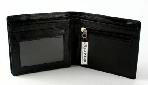 MENS NEW BLACK MAT OR BLACK GLOSS GENUINE LEATHER WALLET UK SELLER