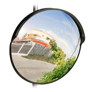 Verkehrsspiegel-45-cm-Spiegel-Auto-Garage-Hausausfahrt-Ausfahrt-Schwarz-Aussen