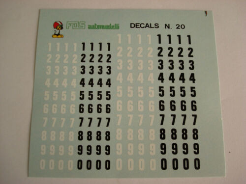 DECALS KIT 1//43 NUMERI mm 4-5  NERI BIANCHI  F1 24h LE MANS RALLY INDY DECAL