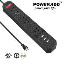 Poweradd 6-Outlet Power Strip Surge Protecter 3 USB Charge Lightningproof Socket