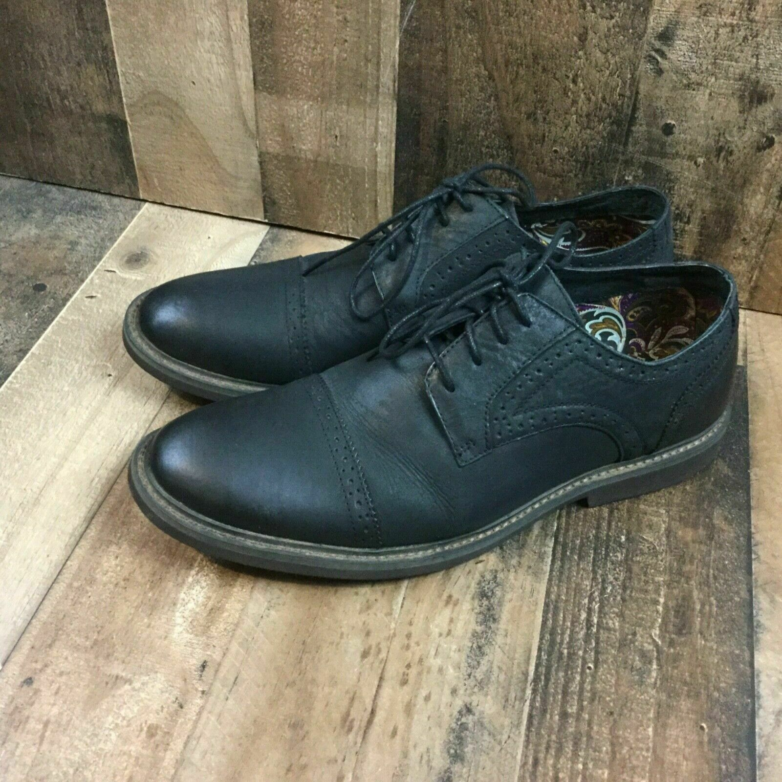 J75 by jump mens 12 black leather cap top perforated boston oxfords casual dress