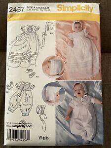 Simplicity 2457 Baby Christening Dress Romper Shoes Bonnet Sewing Pattern UNCUT