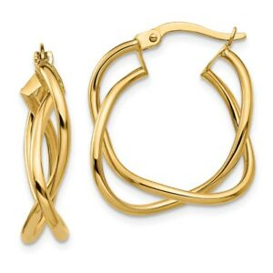 Details About Leslie S Real 14kt Yellow Gold Polished Fancy Hoop Earrings