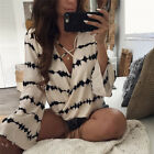 Fashion Women Ladies Long Sleeve Loose Blouse Summer V Neck Casual Shirt Tops