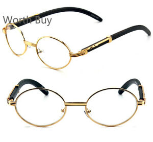ec38f64ec48 New Mens Womens Clear Lens Glasses Vintage Retro Gangster Frame Oval ...