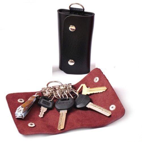 Black Car Key Chain Faux Leather Holder Case Bag Purse Pouch   NTP