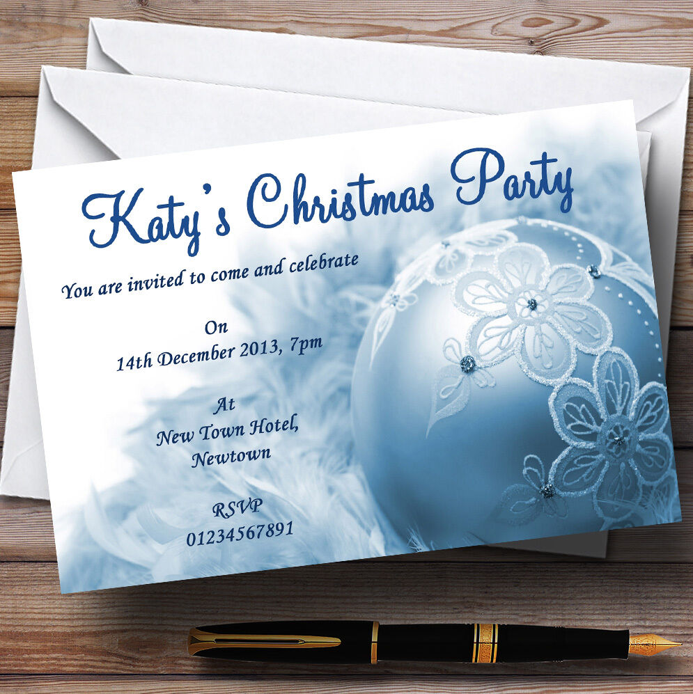 Classy Baby Blau Personalised Christmas Party Invitations