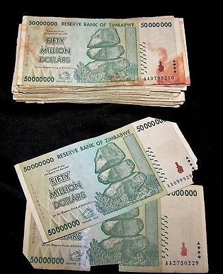 50 x Zimbabwe 20 Billion Dollar banknotes-low grade//poor condition 1//2 bundle