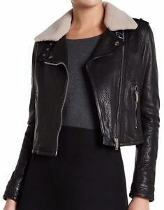New-with-Tag-930-DOMA-Leather-amp-Shearling-Black-Moto-Jacket-Women-039-s-Size-M