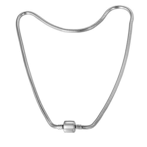 5 Collier Chaîne Ras-du-cou Acier Inoxydable Pr Perles Charm Femme 45cmx3mm
