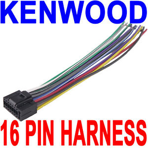 kenwood wire wiring harness 16 pin cd radio stereo ebay rh ebay com kenwood wiring harness diagram colors kenwood wiring harness colors