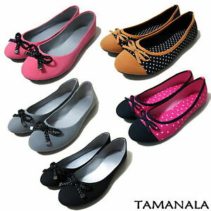 Pretty-Womens-Ballet-Flats-Casual-Ballerina-Comfort-Shoes-NEW-Black-Pink-Gray