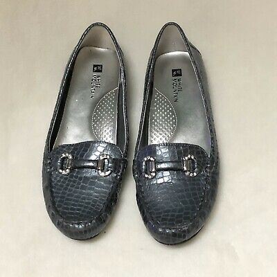 White Mountain Prize PearlizLeather Croco Embossed Moccasins New Black Loafer