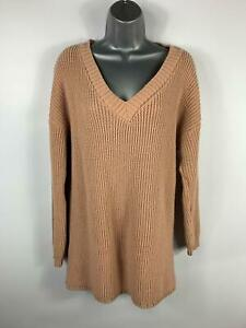 WOMENS-BOOHOO-DUSKY-PINK-LONG-SLEEVE-KNIT-JUMPER-SWEATER-PULLOVER-TOP-SIZE-M-L