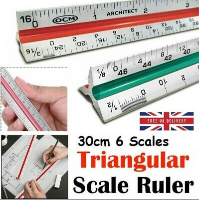 30CM Triangular Scale Ruler 6 Scales For Professional Engineer Architect Artist