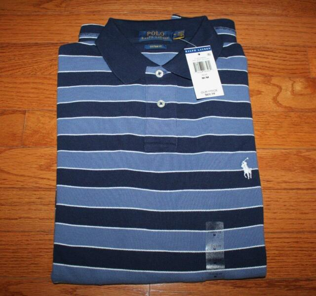 67f66590 NEW NWT Mens Polo Ralph Lauren Custom Fit Polo Shirt Pony Logo Navy Striped  *C1