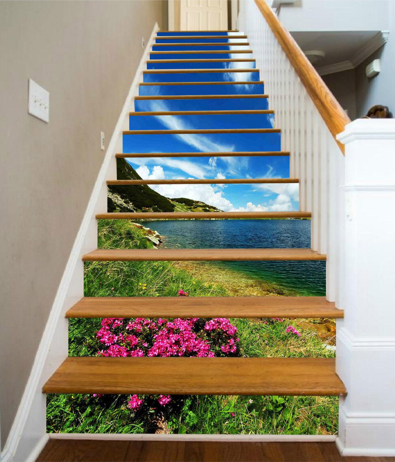 3D Schöner See 315 Stair Risers Dekoration Fototapete Vinyl Aufkleber Tapete DE