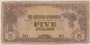 Mazuma *M1292 Malaya Japanese WWII JIM 1942 $5 MJ F Only