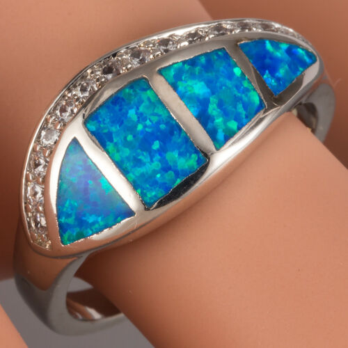 Ocean Blue Fire Opal CZ Side Silver Jewelry Curve Band Ring US Size 6 7 8 9