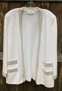 St-John-Evening-By-Marie-Gray-Jacket-Sweater-Ivory-Size-8-FLAW-for-repair