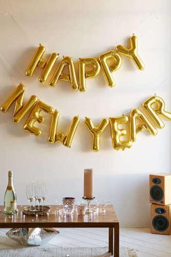 Auto Gonflant Happy New Year Fête Bannière Ballon Bruant Lettre /& Numéro Hot