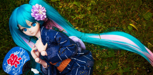 VOCALOD Hatsune Miku Cosplay Bunches Hair Wig Fit for 1//3 BJD Doll Limit Sa