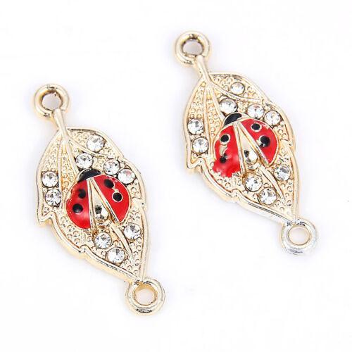 10PC Crystal Ladybug Connectors Alloy Charm 27*12MM For DIY Bracelet//Necklace