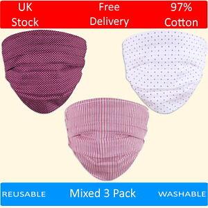 Pack of 3 Pleated Cotton Face Masks Washable Reusable Stripes Spots Dots