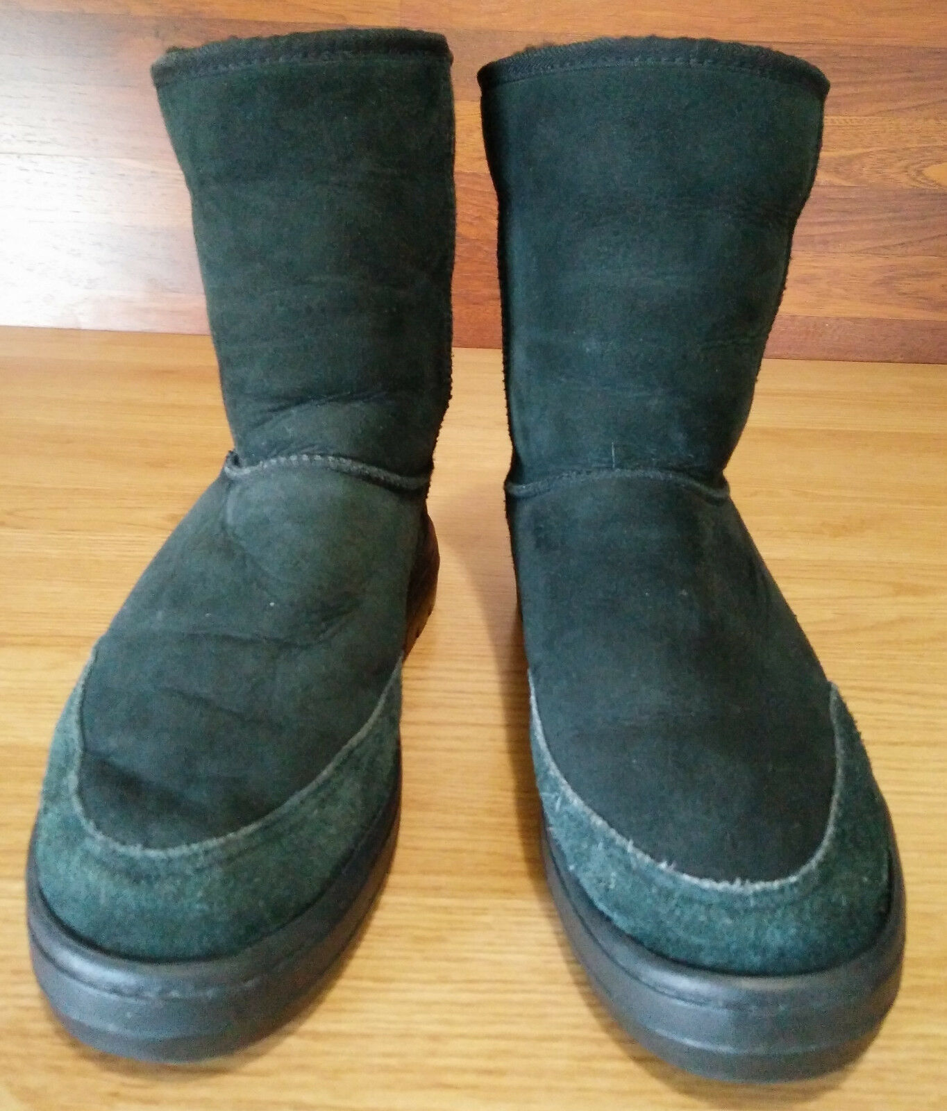 Black Suede Leather Ultra Short Ugg Sherling Lined Western Outdoor Winter Boots