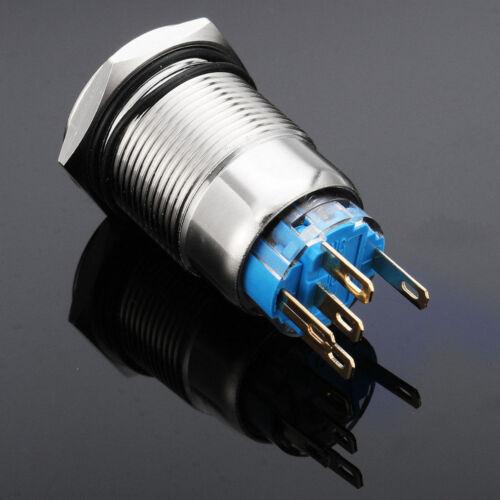 12V 19mm Kfz Auto Blaue LED Engine Start Momentary Metallschalter Stecker