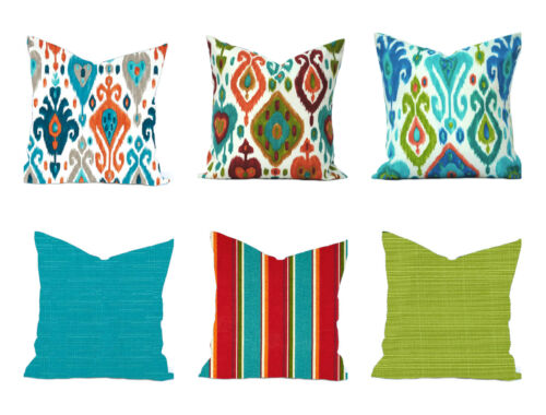 blue green orange red grey teal decorative pillow Outdoor pillow cover