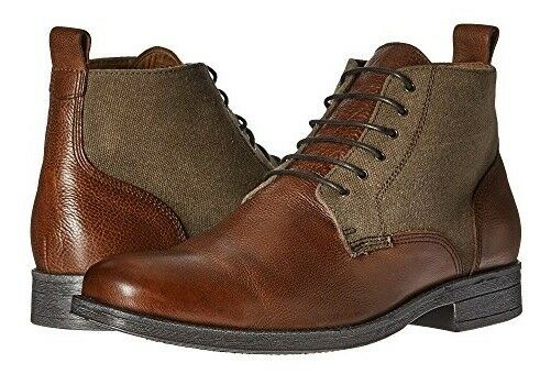 Gordon Rush Men's Mahogany Grain Leather Canvas Ankle Boots, US 7.5