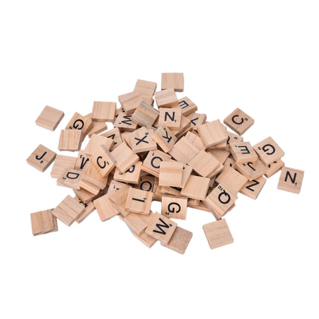 100 Wooden Alphabet Scrabble Tiles Black Letters & Numbers For Crafts Wood 3 TOP