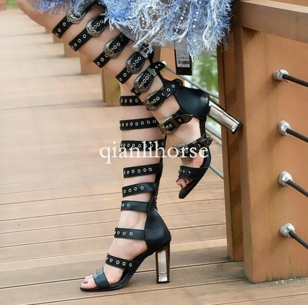 Womens leather punk buckle strap gladiator roman high crystal heel sandals shoes