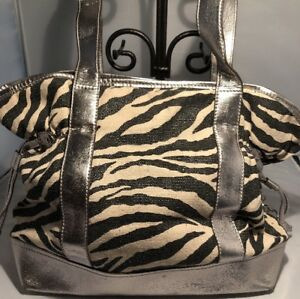 Animal-Zebra-Print-Metallic-Handbag-Hobo-Satchel-Purple-Pockets-Sienna-Ricchi