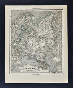 1880 Sydow Physical Map - Russia in Europe Moscow St. Petersburg ...
